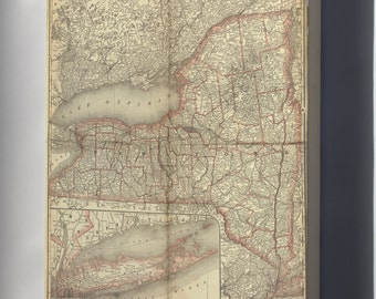 Canvas 16x24; Map Of New York State 1881