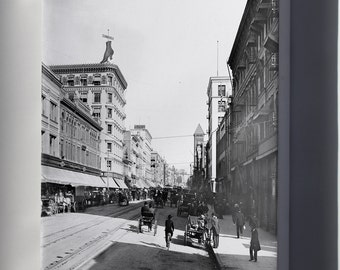Canvas 16x24; Broadway North From Fourth Street, Downtown Los Angeles, 1903-1905 (Chs-1876)