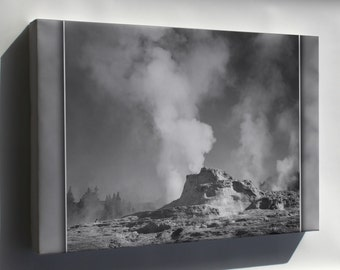 Canvas 16x24; Castle Geyser Cove, Yellowstone National Park, Wyoming; By Ansel Adams