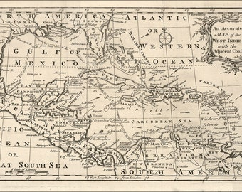 16x24 Poster; Map Of West Indies Cuba Florida Mexico 1750 P1