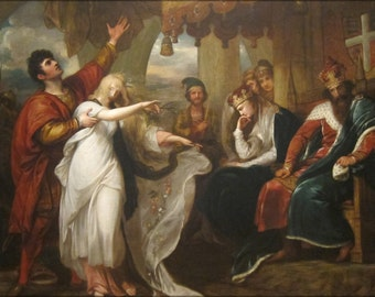 16x24 Poster; Hamlet, Act Iv, Scene V Ophelia Before The King And Queen , Benjamin West, 1792