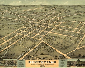 16x24 Poster; Huntsville Al Usa 1871 Birds Eye View