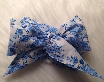 Blue Toile top knot bow headband