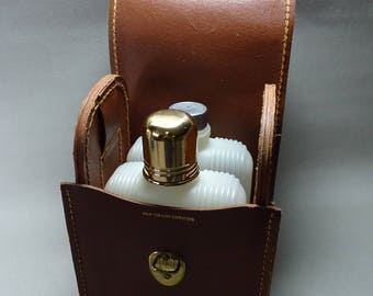 Small Travel Bar Two Flasks in Leather Carrying Case