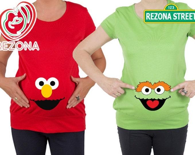 Sesame street, Elmo and Oscar funny  preganancy, announcement , maternity top, tunic, t-shirt