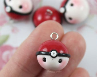 Pokeball - Polymer Clay Charms, Polymer Clay Jewelry