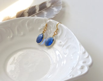 Blue & Gold Faceted Crystal Earrings, Glass Earrings, Oval Drop Earrings, Bridesmaid Jewelry, Bridesmaid Gift, Something Blue, Gifts for Her