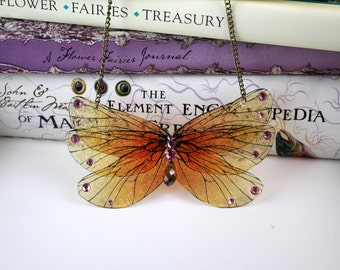 Sunshine Orange and Yellow Butterfly - Gossamer Fairy/Faerie Butterfly Cicada Wing Statement Necklace