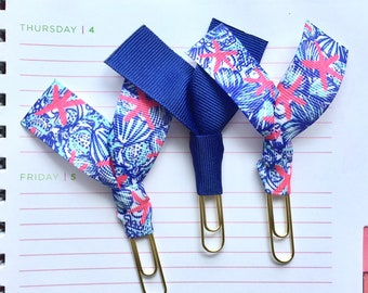 """Lilly Pulitzer """"She She Shells"""" and Royal Blue Ribbon Paper Clips - Set of Three - Great for Planners, Notebooks, Bookmarks & More!"""