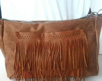 Handbag strap fringed faux brown leather made hands