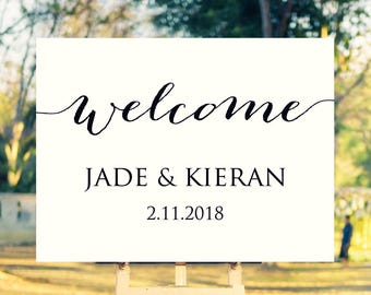 wedding welcome sign etsy. Black Bedroom Furniture Sets. Home Design Ideas