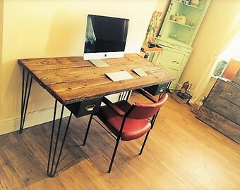 Scaffolding board desk with hairpin legs with vintage steel drawers