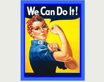 We Can Do It Decal  - Woman  Decal - Girl Power Decal - Vintage Style Decal - Feminist Decal - Feminist Laptop Decal - Rosie Sticker  S40