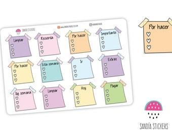 Post it Checklist Planner Stickers en español, Life Planner Stickers, Erin Condren, Personal Planner, Happy Planner, Filofax