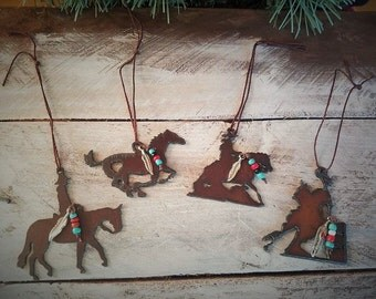 Christmas Ornament, Horse Pendant, Horse Gifts, Metal Horse Ornament, Gift for Horse Lover, Hanging Horse, Cowgirl Gifts