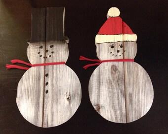 Wood Reclaimed Barn Board Snowman Couple - Christmas