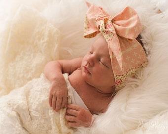ENGLISH ROSES Gorgeous Wrap- headwrap; fabric head wrap; floral head wrap; newborn headband; baby headband; toddler headband