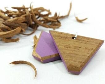 Purple Earrings, Triangle Earrings, Eco Chic Earrings, Lilac Drop Earrings, Eco Friendly, Lilac Earrings, Lilac Wood Earrings, Boho Earrings