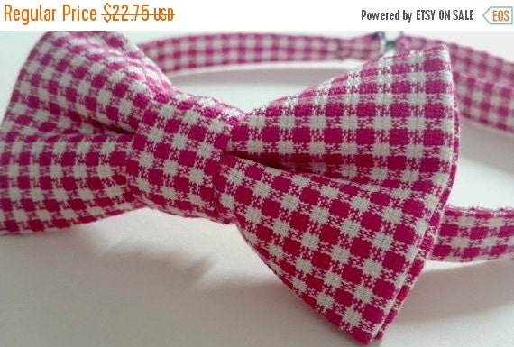 Winter Sale Adult Magenta & White Rayon Crepe Check Bow Tie Pre-Tied Bowtie Handmade