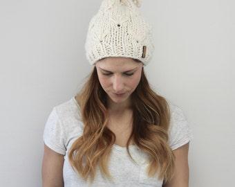 Ladies Slouchy Flower Knit Hat with Pom Pom