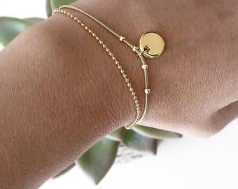 Gold chain bracelet, delicate gold bracelet, charm bracelet gold, gold plated bracelet,  birthday bracelet, minimalist bracelet