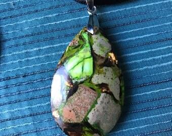 Green Gold Copper Bornite Gemstone Pendant.