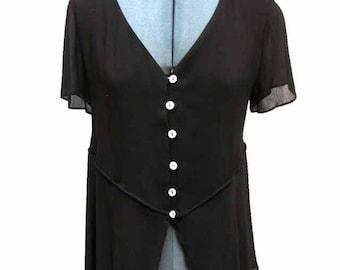 Vintage Max Studio Sheer Black Rayon Women's Blouse Size 2