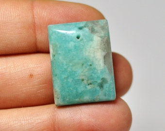 100 % Natural Amazonite Rectangle Pendant Light Green Blue Color.  37.85 Cts, 26x20x7 mm.