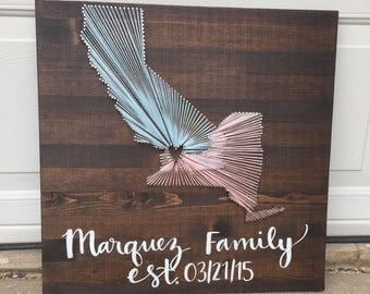 Two state string art sign with handpainted family name and est. date- made to order