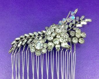Vintage Bridal Comb, Vintage Wedding, Austrian Crystal, Swarovski Crystals, 1940's Hair Comb, OOAK, Mother of the Bride