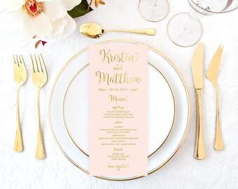 Pink Gold Wedding Menu, Printable Menu, Gold Wedding Menu, DIY Wedding Menu, Faux Gold Foil Baby Shower Menu, Bridal Shower Menu, Menu PGFWF
