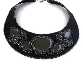 Black Leather necklace, Necklace black leather and grey, Haematite necklace