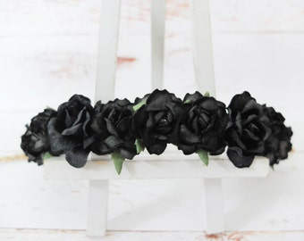 Black flower crown - minimal headpiece - hair garland - black floral hair wreath - wedding hair accessories - garland