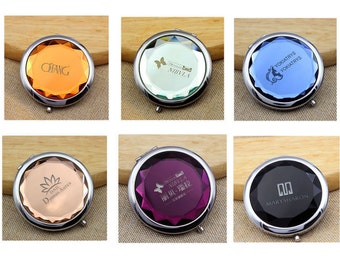 Personalized Pocket Mirror, Compact Mirror, Double Sided Mirror, Makeup Mirror, Crystal Mirrors, Wedding Gifts