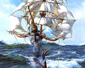 "Salvador Dali art reproduction ""Caravela"",  giclee 8.3X11.7 canvas print poster"