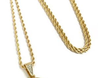 """Headphone & Microphone Mini Pendant Necklace with 24"""" Rope Chain"""
