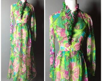 Vintage 60s dress / vintage 70s dress / 1960s dress / 1970s dress / floral dress / maxi dress / mod dress / M5133