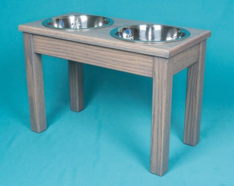"Elevated Dog Feeder 14"", Two Stainless Steel 2 Quart Bowls, Solid Oak Wood"