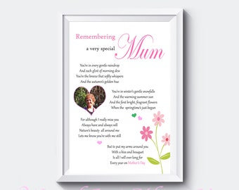 Personalised Photo In Loving Memory of Mum Poem Print Mothers Day Gift A4