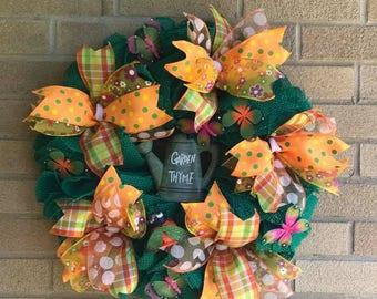 Garden Thyme Wreath Watering Can Wreath Garden Wreath Spring Summer Wreath Home Decor Garden Decor Potting Shed Decor Florida Room Decor