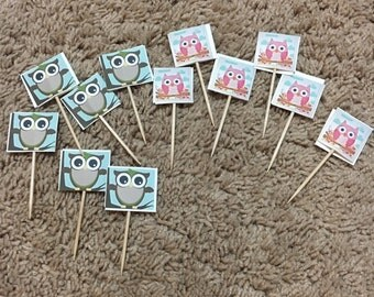 12 Cupcake toppers, owls