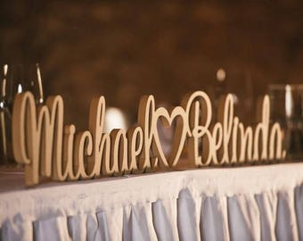Personalised Wedding sign with a love heart