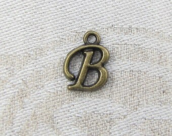 """Bronze Script Letter """"B"""" Charms, 1 or 5 letters per package  ALF018b-BZ"""