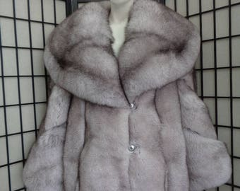 Brand new Norwegian blue fox fur jacket coat woman women size all custom made