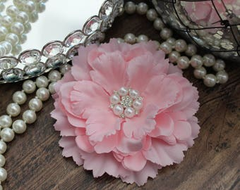"4 1/2"" PASTEL LIGHT PINK Fabric Peony Flowers Layered - Crystal Pearl Center - Elegant - Beautiful - Hair Accessories - Wedding - TheFabFind"