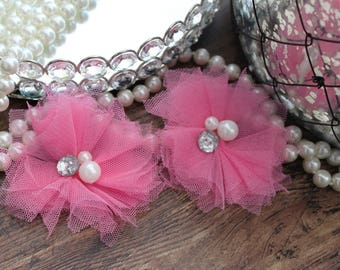 "SET OF TWO - 3"" Pretty Pink Tulle Flowers with Center Accent - Elegant - Beautiful - Hair Accessories - Wedding - TheFabFind"