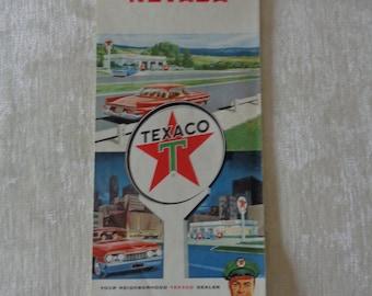 1964 Vintage Texaco Nevada Road map