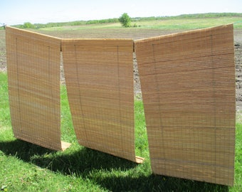 3 Bamboo 33 Inch Wide Shades Window Roll Up Roman Blinds Coverings Vintage