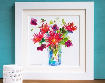 Dahlias and Geraniums Watercolour Mounted and Signed Print
