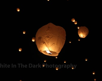 White in the Dark Photography, Lantern Festival picture, floating lanterns, Tangled floating lanterns, night photography. Great gift!